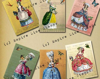 18th Century Fashions 2.5 x 3.5 inch tags Downloadable Collage Sheet Printable Scrapbook Paper Crafts