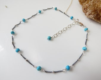 Turquoise Anklet, December Birthstone, Green Blue Gemstone In Oxidized Sterling Silver, Delicate Turquoise Anklet, 9.25-10.5 Inches Length