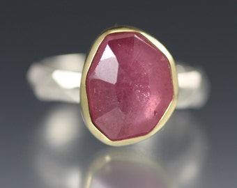SALE  - Rose Cut Pink Sapphire Chiseled Ring - Faceted Band
