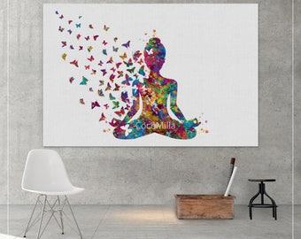 Yoga Art Butterfly CANVAS Print Yogi Yoga Poster Yoga Large Print Yogi Woman Watercolor Yoga Studio Yoga Wall Decor Yoga Gift Yogi Girl-1201