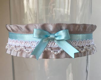 Blue, White and Gray Victorian Collar, Kitten Play Collar, Choker, BDSM Collar, ddlg Collar, Lolita Collar