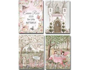 Enchanted Forest Fairy Tale Personalized Prints, Set Of 4 Blush Pink Vintage Tea Party Fairy Wall Art, Garden Nursery Prints, 5x7 to 24x36