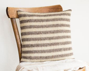 Beige and White Stripes Natural Pillow Cover, 16 x 16 Crochet Wool Cushion Cover, Eco Friendly Home Decor
