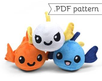 Goldfish with Animal Variation Plush Sewing Pattern .pdf Tutorial Kitty Bunny Fox Panda Alpaca