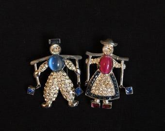 Vintage 1930s Dress Clips Figural Brooch Pins Novelty Dutch Boy and Girl Rhinestone