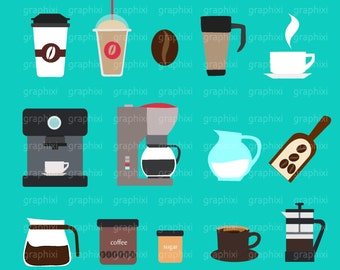 Coffee Clipart, Coffee Vector, Coffee Digital image, Commercial Use, Coffee Illustration, Coffee, DIGITAL CLIPART