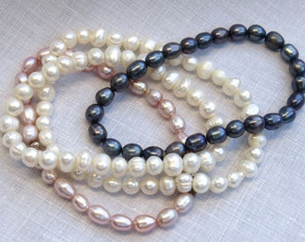 OVERSTOCK SALE PEARL Bracelets, Pearl Bridesmaids Gifts, Layered Freshwater Pearl Bracelets, Stacked Pearl Bracelets, Elastic