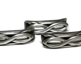 Antique Silver Infinity Slider; Zamak Slider for Regaliz Bracelet; Jewelry Supplies; Supplies for Leather Making; Leather Making Supplies
