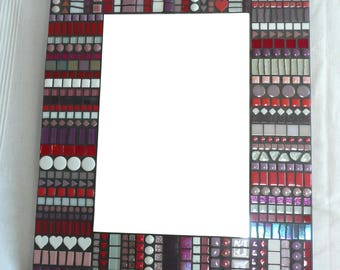 Mosaic Mirror BoHo Style in Red, Purple, White and Pink