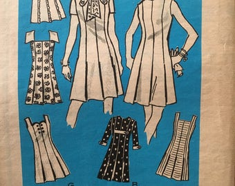 """1970's vintage mail order pattern Anne Adams 4871 Princess cut dress with a variety of sleeves and necklines Size 12 1/2 Bust 35"""""""