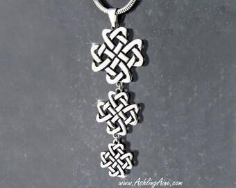 Triple Celtic Love Knot Cross Pendant, Irish Celtic Knot, Scottish Celtic Jewelry, Irish jewelry, Scottish jewelry(S150wc)