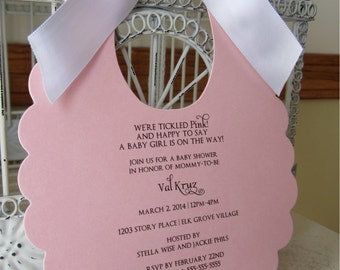 The Original Think Pink Baby Girl Themed Baby Shower Invitation   - Custom Die Cut