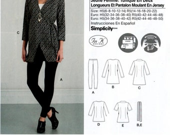 Simplicity 8556 Misses Casual Pullover Wrap Front Tops and Tunics and Leggings