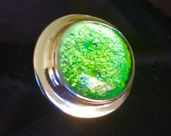 Dichroic Glass and Sterling Silver Ring