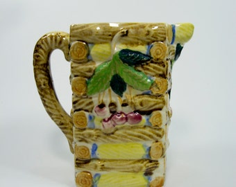 Log Cabin with Cherries Ceramic Pitcher