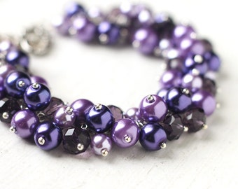 Dark Purple Wedding Bridesmaid Jewelry Pearl Cluster Bracelet - Amethyst