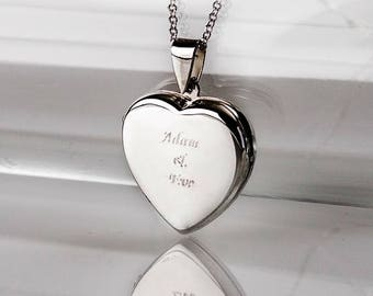 Engraved Heart Locket Necklace in Sterling Silver 0.925