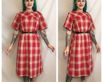 Vintage 1960's Red Plaid Mod Dress