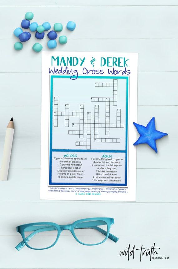 Custom Wedding Crossword Puzzle Printable Bridal Shower