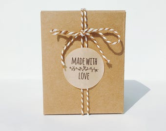 20 made with love round Kraft stickers,gift labels,favor packaging,gift,cute stickers,kraft label,Kraft sticker,made with love kraft
