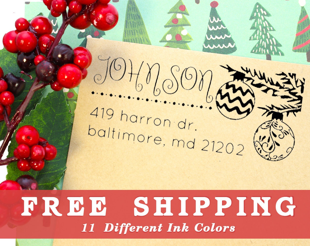 Holiday Return Address Stamp Custom Self Inking Stamp or Wood