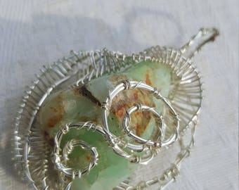 Chrysoprose rose:  wire wrapped necklace pendant, green gem, silver coated copper