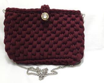 Dark Red Color Bag Handbags Crochetoman Bag Shopping bag Summer Bag Handwoven Bag Crochet Shoulder bag  Tote Bag Hand Women for Crochet Bag