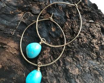 14k Gold Fill Hoop and Turquoise Earrings, Sleeping Beauty Turquoise Earrings