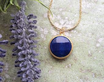 Navy blue necklace Candy Necklace Pendant necklace Statement Necklace Gift for wife Wife gift Bold Necklace Jade stone necklace