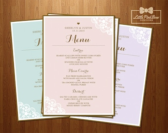 Wedding Menu Printable with Lace Corners, Getting Married Dinner menu, Reception menu, Wedding Menu Printable