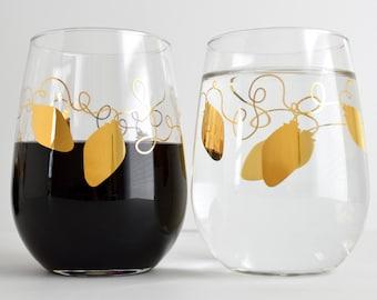 Metallic Gold Retro Christmas Lights Stemless Wine Glasses - Set of 2 Gold Christmas Glasses