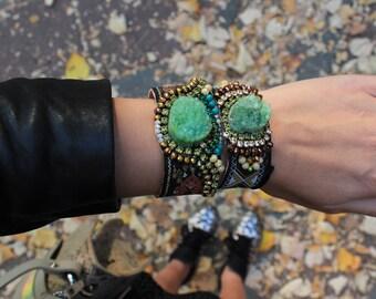 Green Agate Bracelet Druzy Bracelet Hippie Chic Style Druzy Agate Cuff Bracelet Unique Bohemian Stone Cuff Bracelet Best Selling Bracelet
