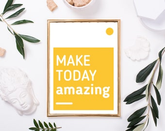 Printable Poster, Make Today Amazing, Quote Poster, Nordic Style, Instant Download, Printable Wall Decor, Digital Print, Easter Decoration