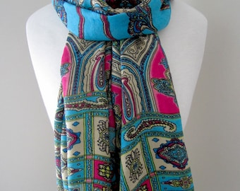 Blue Infinity Scarf, Scarf with ornamental patterns, Long and lightweight all season scarf