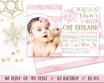Winter Onederland Invitation Girl Onederland Birthday