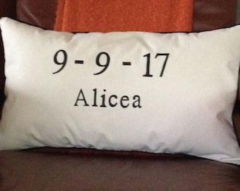 Custom Wedding Date Pillow