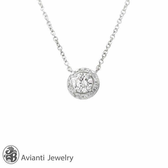 Diamond necklace round diamond necklace single halo diamond like this item mozeypictures Image collections