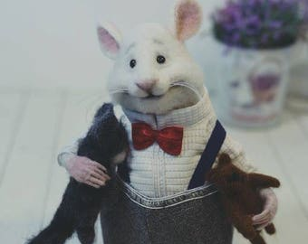 Felting rat Rat in clothes Rat and cat Rat with fingers Rat toy Mouse in clothes Doll rat Doll mice Cute ratRat and bear Mouse with fingers