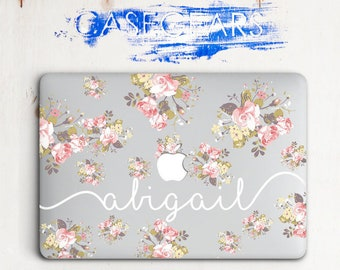 Custom Name Personilized Macbook Case Macbook Air 13 Case Flowers Macbook Pro 15 Case New Macbook Case Floral Macbook 13 2016 Clear CG2081