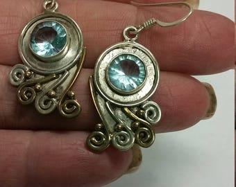 Blue topaz sterling silver set dangle earrings