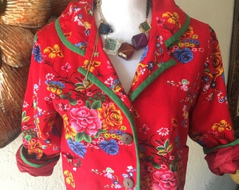 Womens Vintage Bright Floral Button up Short Jacket
