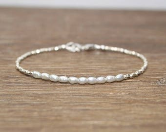 Gray Freshwater Pearl Bracelet, Hill Tribe Silver Beads, Fine Silver, Pearl Jewelry, June Birthstone, Stacking Bracelet,