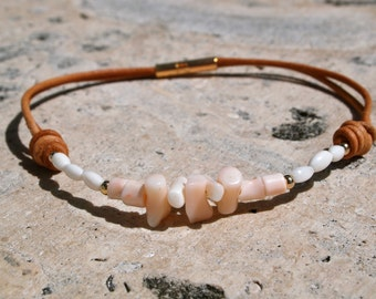Pink & White Coral Anklet on brown leather
