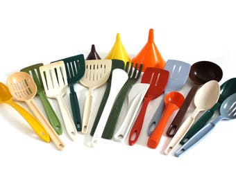 Nylon Plastic Kitchen Utensil(s) Clipper Plastic Spatula, Ekco Spoon, Rubbermaid Party Plan Ladle, Matfer Stir Stick, Ice Cream Scoop