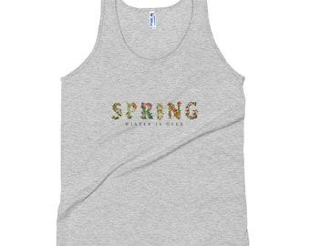 Frühling Winter ist über tropische Blumen Print Frauen Tank Top