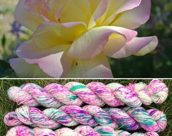 Spring Rose 20g Miniskein, speckled merino nylon sock yarn