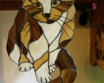 "Calico Cat Stained Glass Picture ""Callie"""