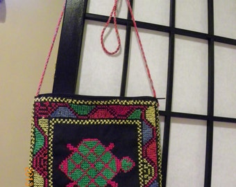 Cross-stitch Embroidered square bag