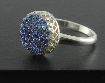 Round Druzy Ring Sterling Silver - Sapphire Blue Druzy Quartz - Druzzy Stone Blue Bezel Set Ring Drusy