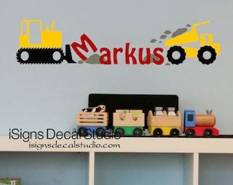 Construction Trucks Wall Decal - Custom Name Decal - Boys Room Decal - Kids Room - Playroom Wall Decal